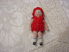 1 Antique German Wirejointed Tiny Bisque Porcelain Doll Red Crochet Dress Hat