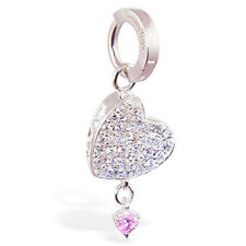 Silver TummyToy with CZ heart and pink dangling Belly Button Ring Sexy snap on