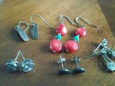 Lot Of 5 Pair Of .925 Pierced Earrings Dangle And Stud