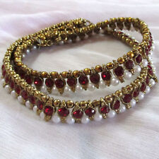 Antique Gold Tone pearl Anklet/payal maroon  stone