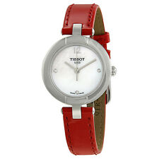 Tissot T-Trend Pinky Mother of Pearl Dial Red Leather Ladies Watch