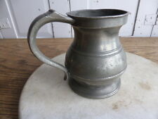 Antique Victorian pewter 1 pint tankard engraved initials GCR