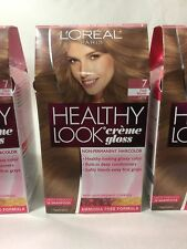 3 X L'Oreal Healthy Look Creme Gloss Hair Color Dark Blonde,Latte #7 NEW.