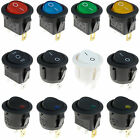 ON/OFF Round Rocker Switch LED illuminated Car Dashboard Dash Boat Van 12V