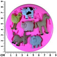 Farmyard Animals Pig Sheep Pony Cow Donkey Silicone Mould by Fairie Blessings