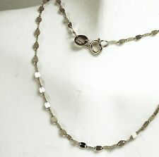 14k solid white gold 18 inches long mirror link beautiful very sparkly chain