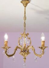 Delightful 3 Light Vintage French Crystal and Bronze Birdcage Chandelier
