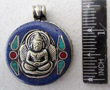 Nice! Tibet Tibetan Silver & Lapis Lazuli Buddha Amulet