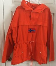 Vintage J Peterman Company Norwegian Flag Canvas Anorak Orange Pullover Large