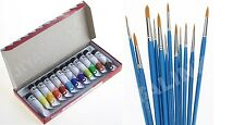 Set Of WamiQ Tempera Water Colour Paints & 13 Artist Round Brushes Sizes 0-13