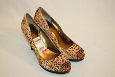 Nine West Womens Ladies Brown Animal Print Open Toe Heels Size 9M