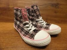 Girls  Converse CT All Star Pink Tartan Cloth Hi Top Trainers  Size  12k /  30