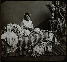 PHOTO ON GLASS 19TH CENTURY MOORISH GIRL. INTERIOR SETTING, RICHLY TEXTURED.