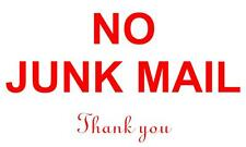 NO JUNK MAIL THANKYOU DECAL FOR LETTERBOX / MAIL BOX STICKER 100 x 50mm
