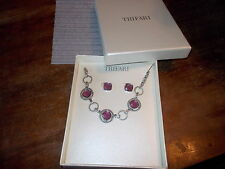 TRIFARI Purple and Silver Necklace & Earring Set - Fast Shipping~~~ NEW IN BOX