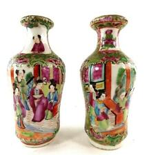 TWO ANTIQUE CHINESE CANTON FAMILLE ROSE PORCELAIN VASES QING DYNASTY