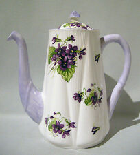 Rare SHELLEY Large VIOLETS Floral DAINTY SHAPE COFFEE POT Mauve Purple Trim MINT