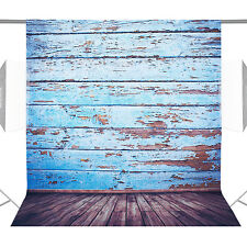 Neewe 5x7ft Blue Wooden Floor Backdrop Background for Photography