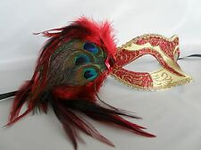 Mardi Gras Masquerade Mask - Red & Gold With Peacock Feathers - NEW -