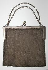 Antique Sterling Silver Mesh Purse w Snap Closure & Chain c1910-1920