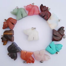 Wholesale natural stone bear charms pendants mixed carved Animal bead 12pcs/lot