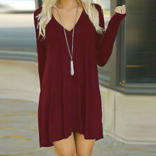 Women Winter V-Neck Casual Loose Long Sleeve Evening Party Short Mini Dress WEXL