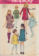 Simplicity 8941 Girls MOD A-Line Dress or Jumper Pattern Size 4 Hippie Chic