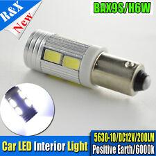 1x DC 12V Xenon White BAX9S H6W 64132 5630 10SMD LED Interior Light Bulbs 6000K