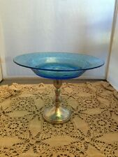 VINTAGE BLUE PEBBLE GLASS TAZZA COMPOTE SILVER PLATE BASE