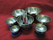 "7Pc CHAKRA TONES TIBETAN SINGING BOWL SET 5980gm 4.5-9.5""dia HAND MADE CODEJUL28"