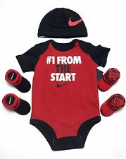 Air Nike Newborn Baby Boys 4-piece Outfit Gift set Bodysuit, Cap, Booties, 0-3 M