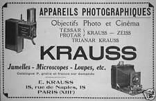PUBLICITÉ 1922 KRAUSS APPAREILS PHOTOGRAPHIQUES OBJECTIFS PHOTOS ET CINÉMA ZEISS
