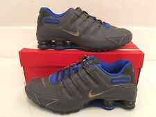 2016 Nike Shox NZ SE Premium SZ 8 Dark Grey Gold Blue Leather 833579-004
