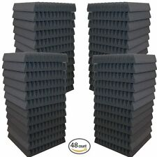 """48 Pack Soundproofing Acoustic Wedge Foam Tiles Wall Panels 12"""" X 12"""" X 2"""""""