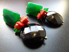 Ohrringe Ohrclip gold Edelsteine Smaragd, Koralle Onyx und Jade, von Catia Levy