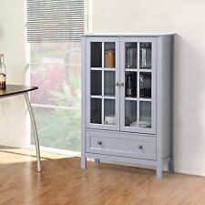 Storage Cabinet Glass Doors Curio China Hutch Drawer Kitchen Dining Room NEW