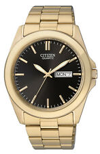 Citizen BF0582-51F Men's Classic Gold Tone Black Dial Day Date Analog Watch