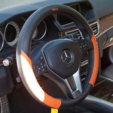 Fit Nissan Kia Jeep Real Leather Steering Wheel Cover Black Orange It58013 Sedan