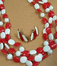 Vtg Jewelry Lot Of 2 Necklace Earrings Red White Acrylic Bead Enamel Classic#...