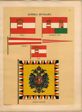 1899 2 P Austria Hungary Imperial Standard Coat Of Arms Maritime Ship Flag PRINT