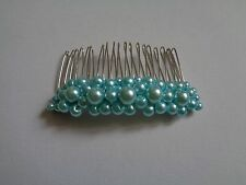 Baby Blue glass pearl hair comb wedding bridal bridesmaid fascinator prom bride