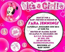 Disney Baby Minnie Mouse Baby Shower Invitations 12 pk Personalized Hot Pink