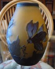 Emile Galle Vase  French Glass Art Deco Floral Amber / Violet Signed