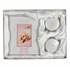 Baby Girl - MY FIRST TOOTH, CURL & PHOTO FRAME - Birth Christening Present