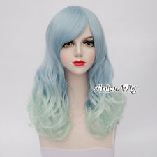 Light Blue Mixed Green Hair Girl Cosplay Party Style Long 60CM Curly Lolita Wig
