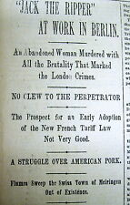 1891 newspaper JACK THE RIPPER ALIVE & murders another woman in BERLIN Germany ?