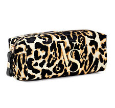 NEW Genuine VICTORIA'S SECRET Leopard/Gold VS Makeup Bag