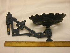 "Vintage Cast Iron Oil Lamp Holder Wall Sconce Ornate Black 9"" Victorian"