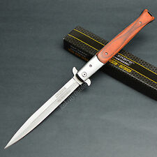 "TAC FORCE 13 1/8"" Open Large Stiletto Assisted Open Red Wood Handle Knife New!"