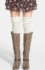 NWT Free People Ivory Ruffle Ribbed Over The Knee Socks